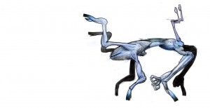 This is the horizontal position of a Herdsmember, used for fighting, running quickly, walking far, fighting, egg-laying, and defecating. Note the eyes and brain are at the back in this posture.
