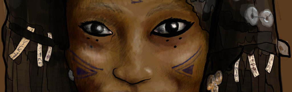 Ahuj is a namedealer who has found a comfortable position as the seer aboard a pirate ship.