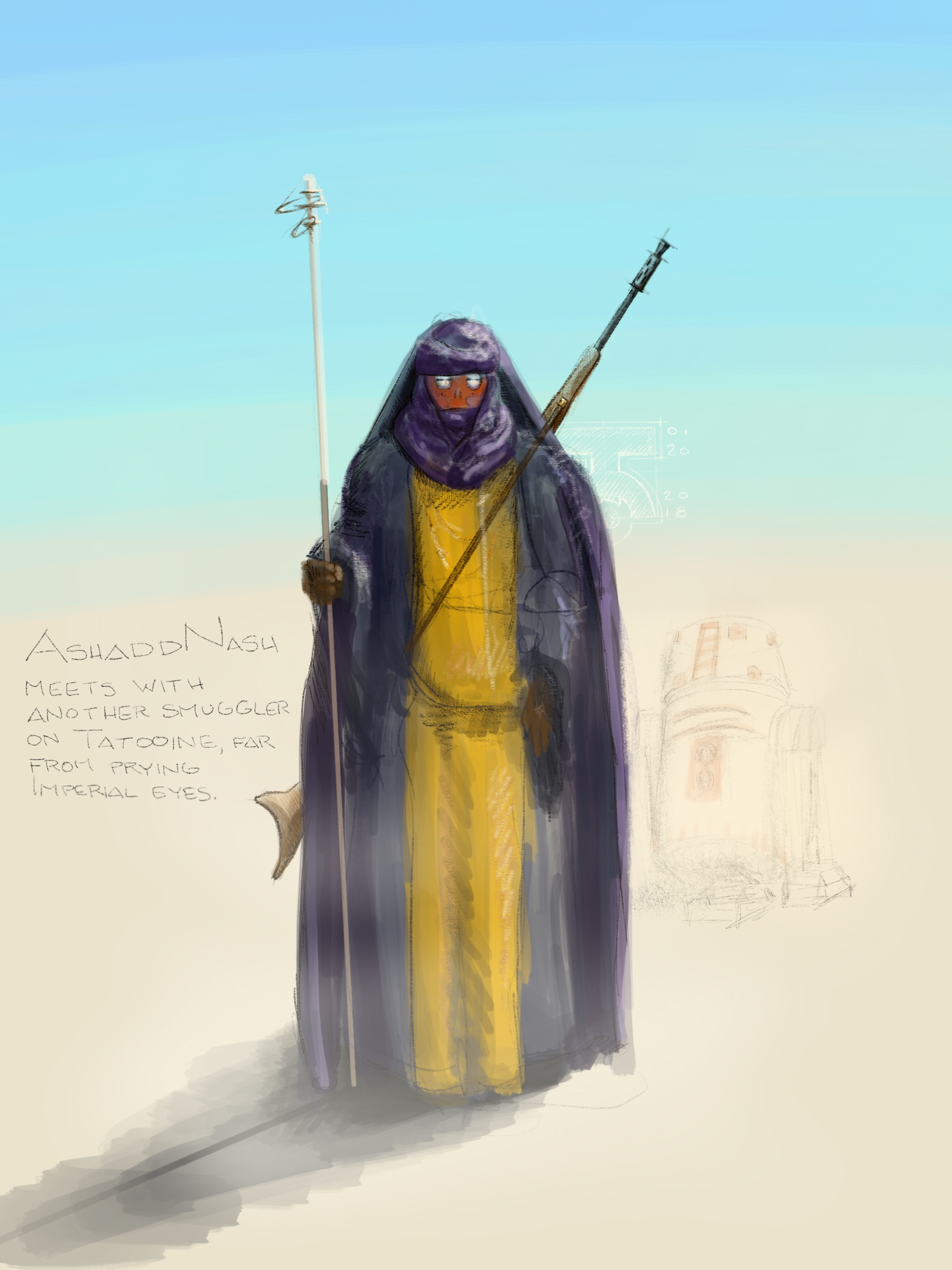 Ashadd approaches across the desert to meet with a fellow smuggler