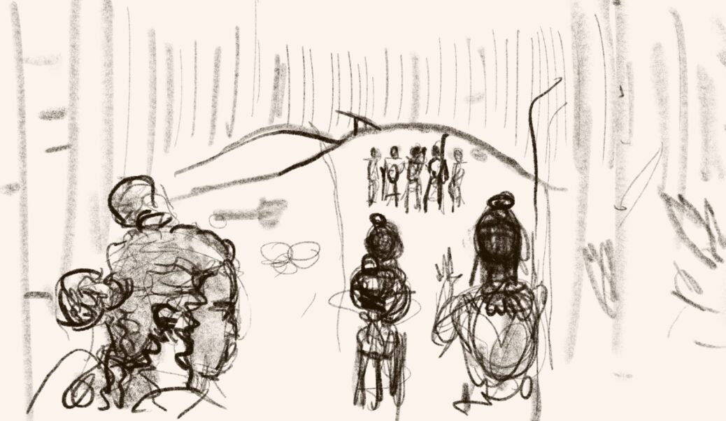 A charcoal sketch of three Libarrians approaching the Harford Libarrow